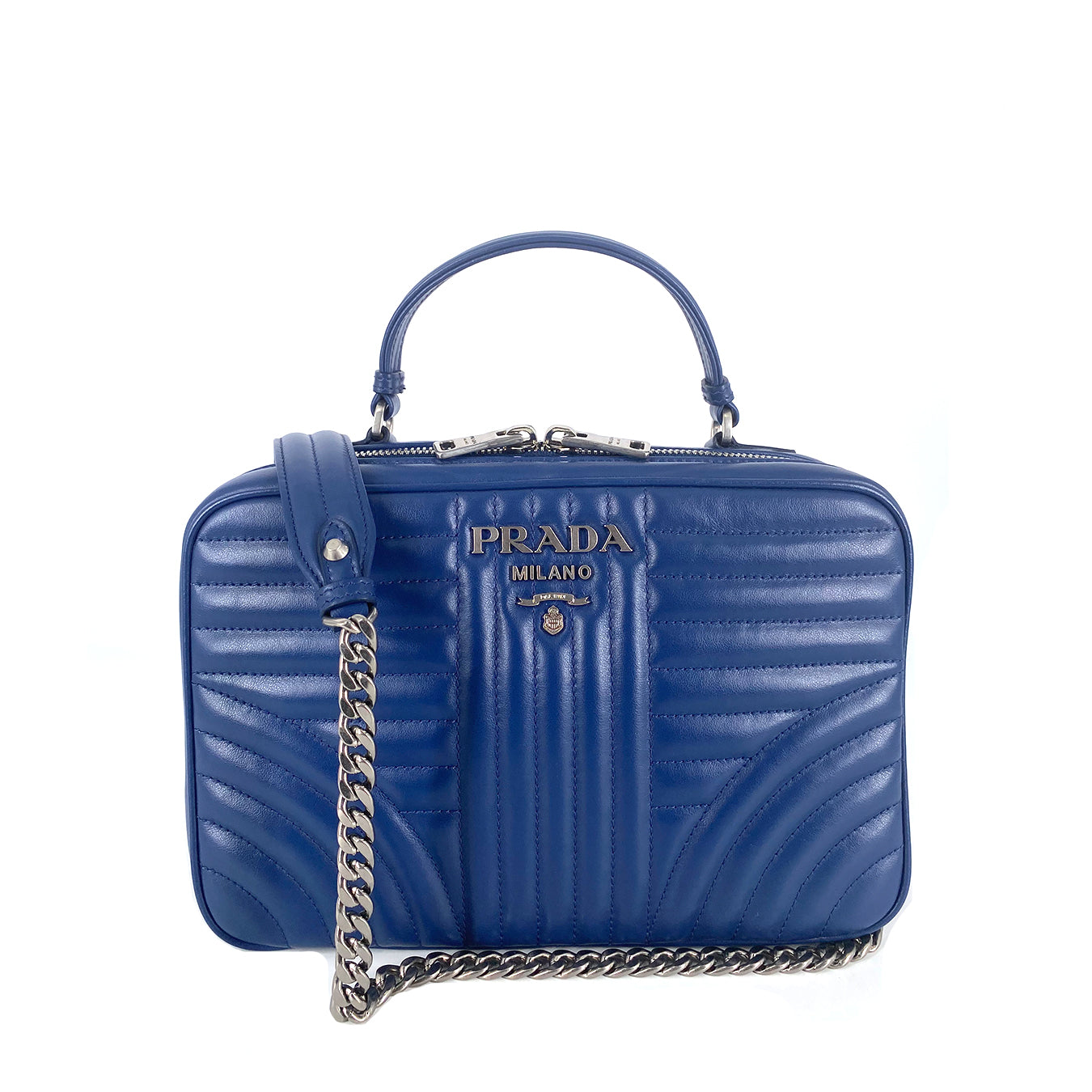 Prada 1BH119 Bandoliera Quilted Soft Calf Leather Bluette
