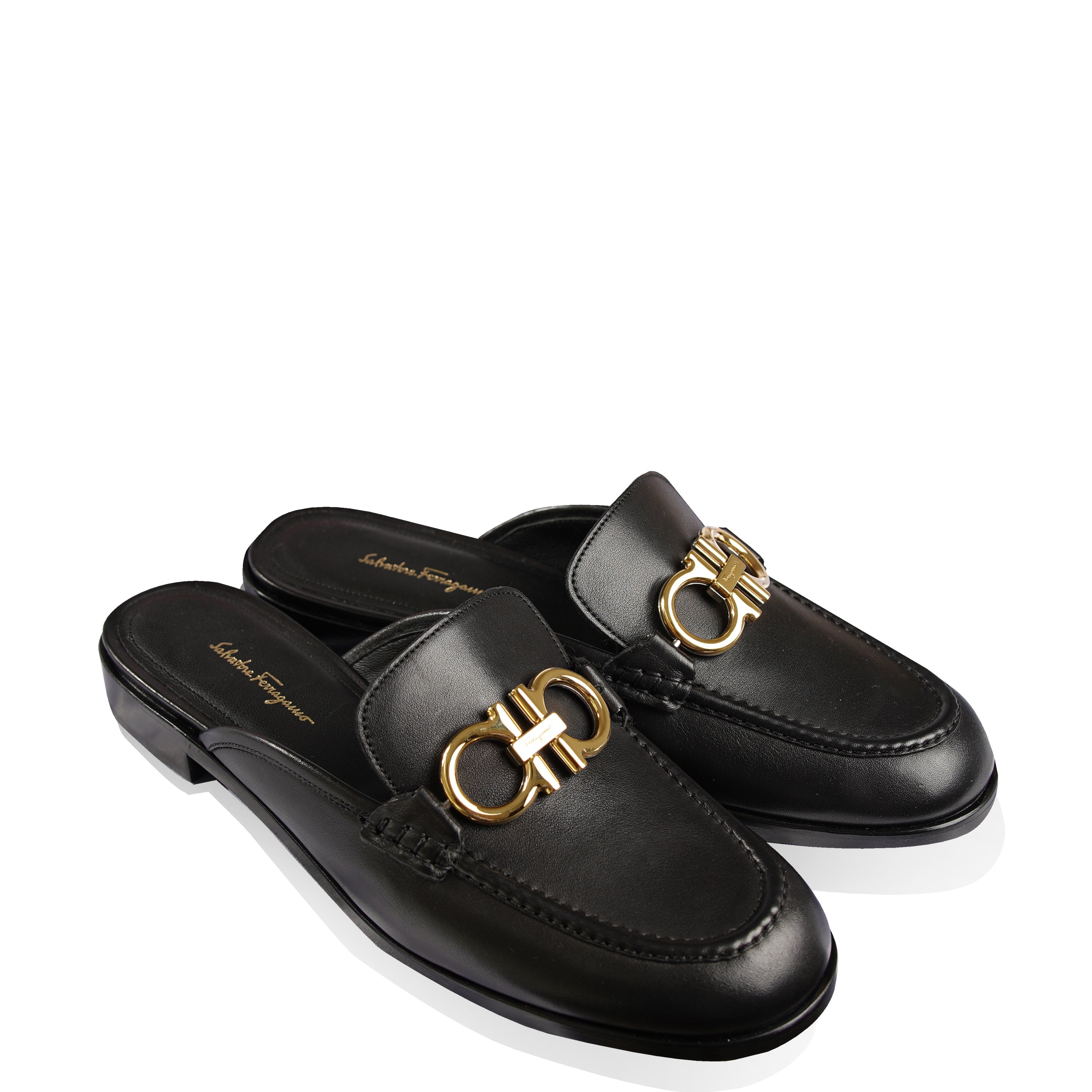 Salvatore Ferragamo Women's Leather Viaggio Gancini Mules Size 38 Black Gold