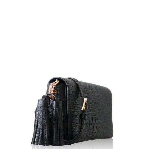 Thea Mini Leather Tassel Crossbody Bag Black