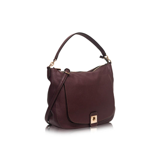 Jo Maroon Leather Large Hobo Bag
