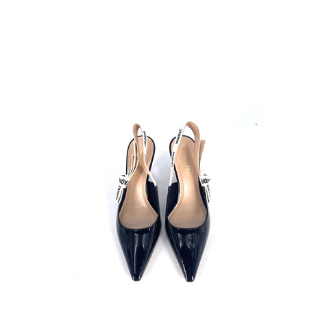 Dior Women Black Patent Leather J'a Pointed Toe Slingback Sandals