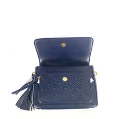Tory Burch Fleming Leather Top-Handle Bag Satchel Navy