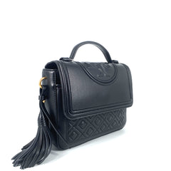 Tory Burch FLAMING SATCHEL TOP HANDLE BLACK