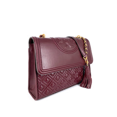 Tory Burch Fleming Medium  Convertible Shoulder Bag Maroon