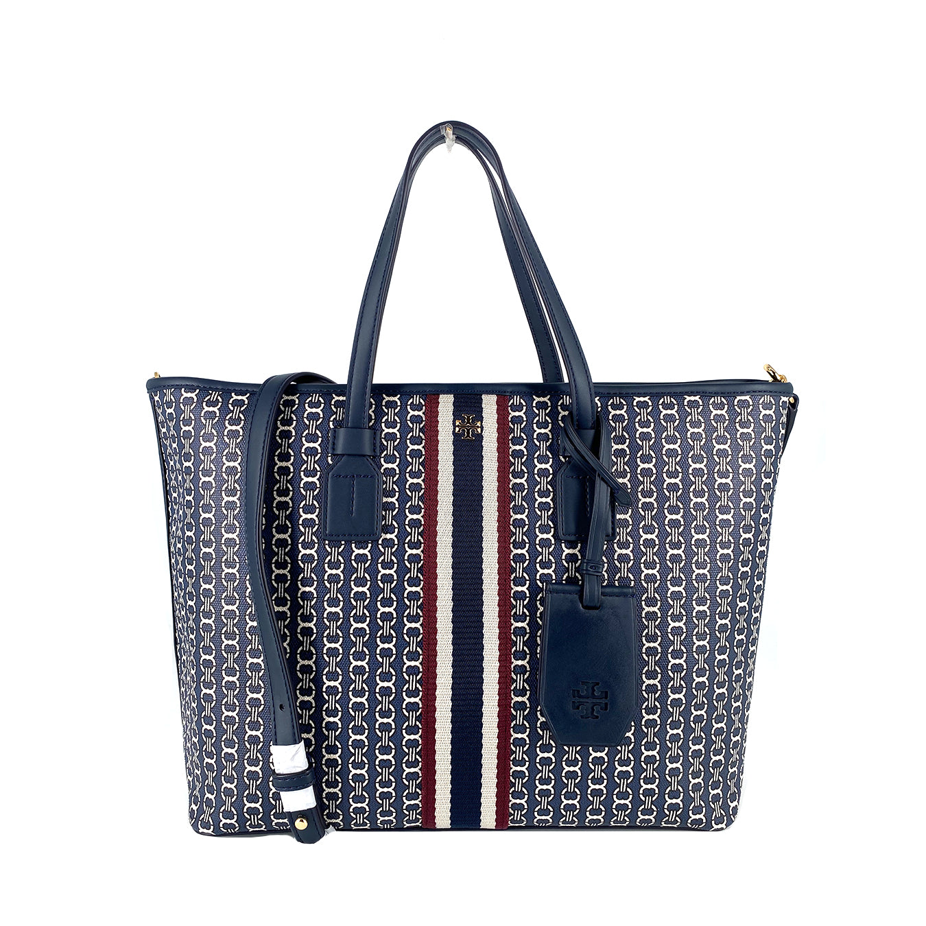 Tory Burch Gemini Link Canvas Small Tote Tory Navy Stipple
