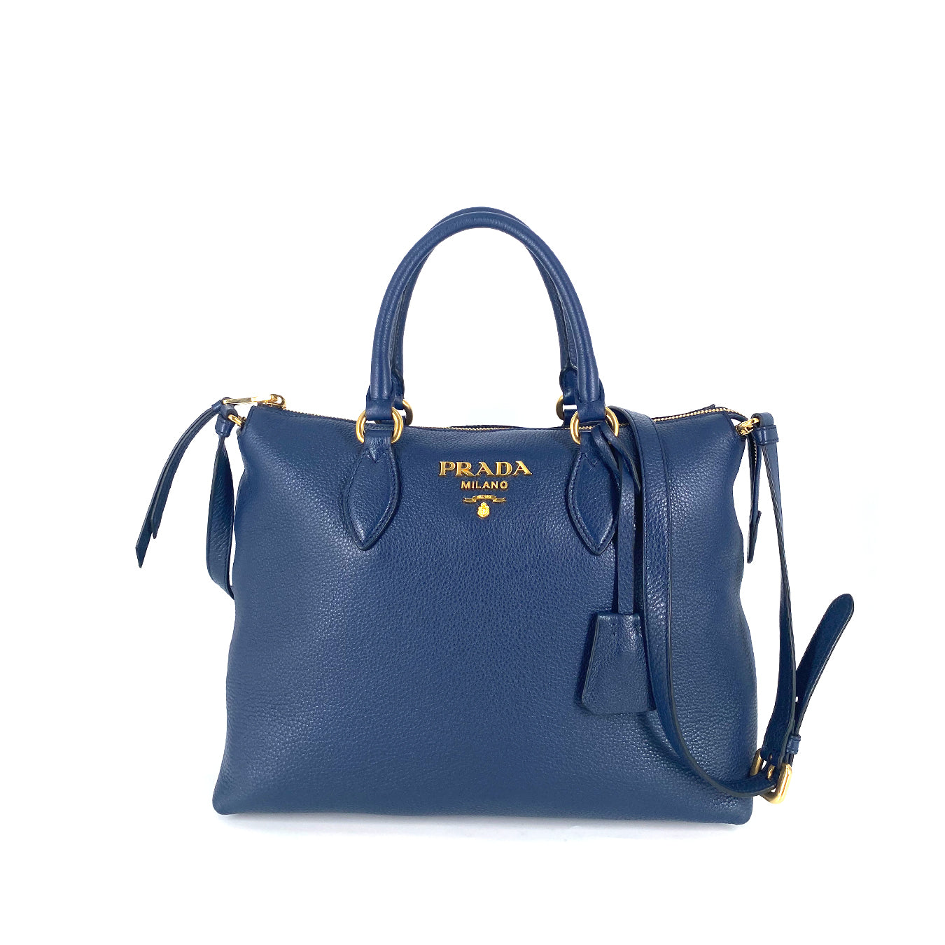 Prada 1BA063 Borsa Amano Vitello Phenix Tote Leather Baltico