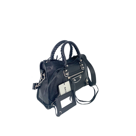 Balenciaga Classic Metallic Edge City Small Black with Silver Hardware