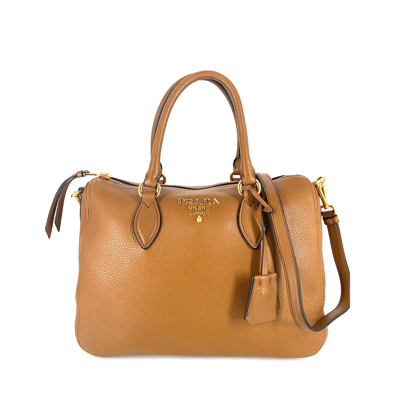 Prada 1BB023 Bauletto Vitello Phenix Speedy Cannella