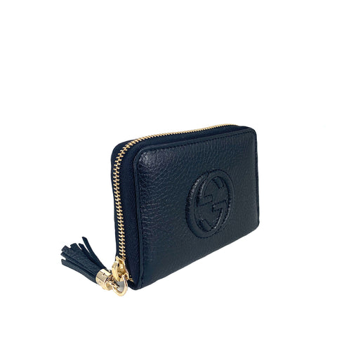 Gucci Soho  Mini Zip Around Wallet in Black