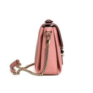 Gucci GG Interlocking Leather Chain Top Handle Bag Large in Pink