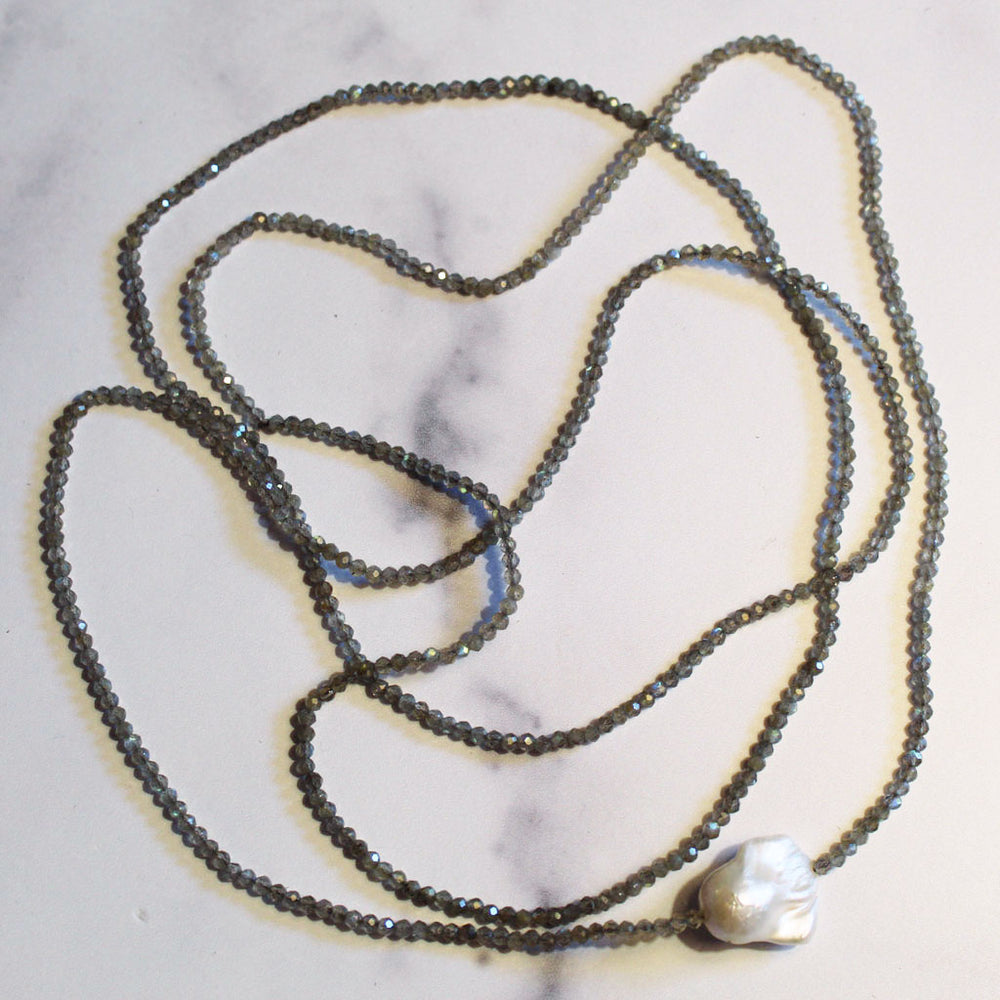 Labradorite Gemstone Strand Light Grey
