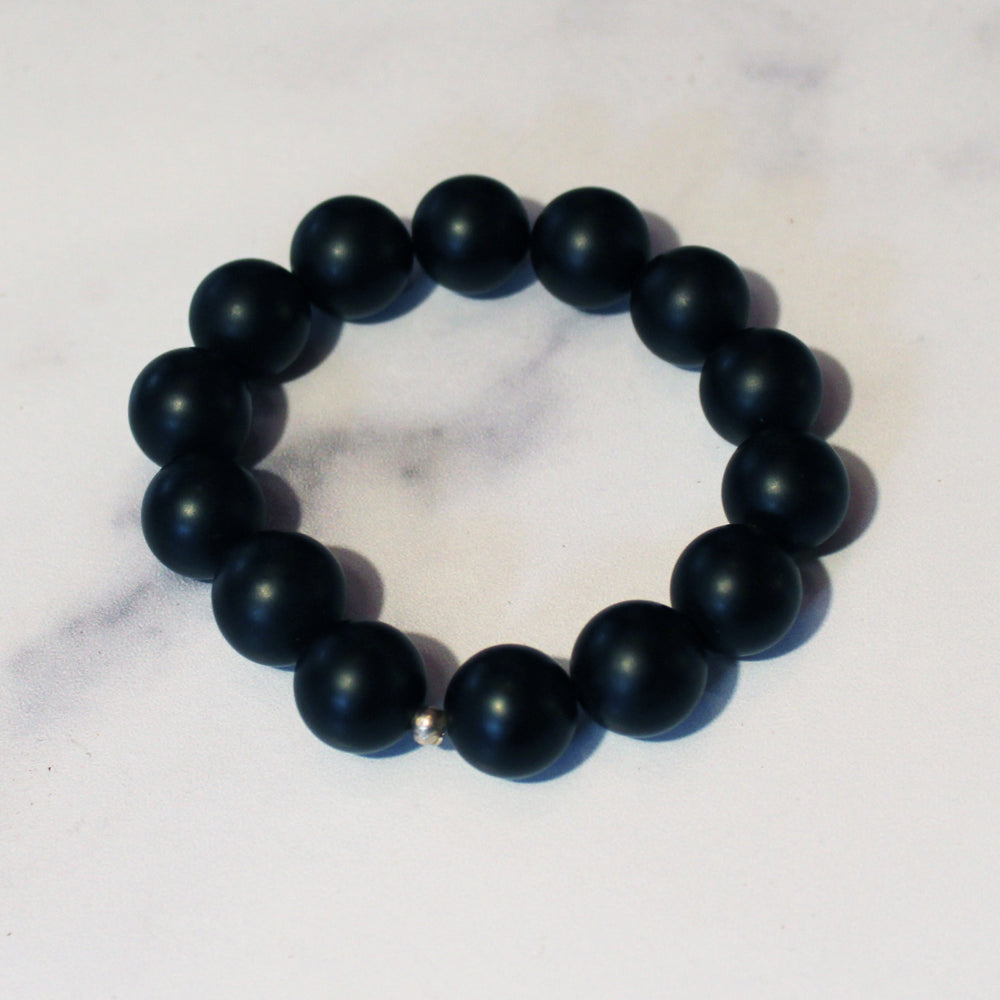 Black Onyx Stretch Bracelet (large bead)