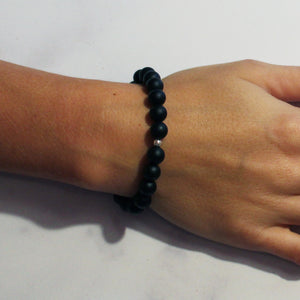 Black Onyx Stretch Bracelet (small bead)