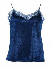 Load image into Gallery viewer, Blue Velvet Spaghetti Strap Lace Panel Tank