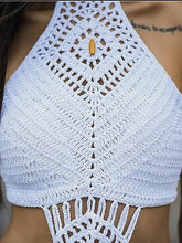 Load image into Gallery viewer, White Halter Tassel Trim Open Back Tank