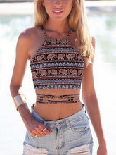 Load image into Gallery viewer, Polychrome Folk Print Lace Up Back Crop Tank