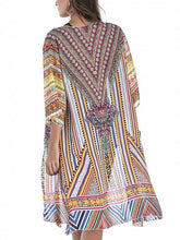 Load image into Gallery viewer, Polychrome Folk Print Open Front Longline Cardigan