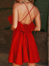 Load image into Gallery viewer, Red Cotton V-neck Ruffle Trim Open Back Chic Women Cami Mini Dress
