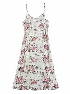 White Cotton Blend Floral Print Ruffle Trim Chic Women Cami Midi Dress