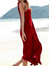 Load image into Gallery viewer, Red Cut Out Thigh Split Sleeveless Chic Women Midi Dress