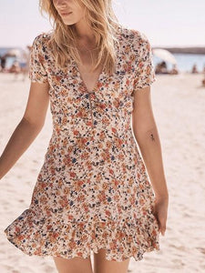Polychrome Women Mini Dress V-neck Floral Print Chic