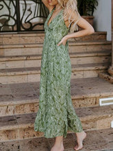 Load image into Gallery viewer, Green V-neck Leaf Print Buckle Strap Chic Women Maxi Dress