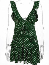 Load image into Gallery viewer, Green Polka Dot V-neck Open Back Sleeveless Chic Women Mini Dress