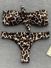 Load image into Gallery viewer, Brown Bikini Set Bandeau Leopard Print