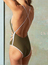 Load image into Gallery viewer, Green One-piece Swimsuit Plunge Cut Out Detail Open Back