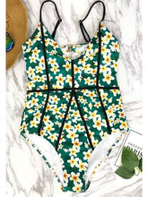 Load image into Gallery viewer, Green One-Piece Swimsuit V-neck Floral Print Open Back