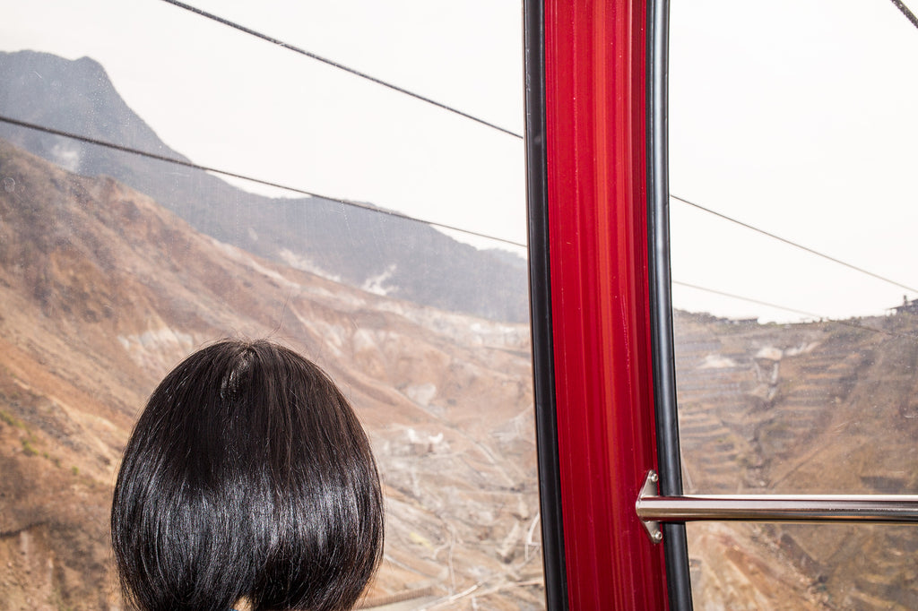 View of mountains through a cable car window, obstructed by a person's head.