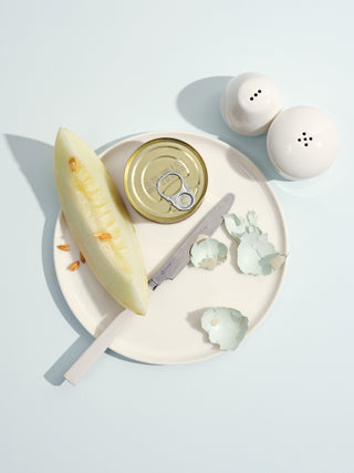 Top view of a white cermaic plate holding a tin, a piece of melon, a butter knife, and egg shells next to salt and pepper shakers on a light blue background
