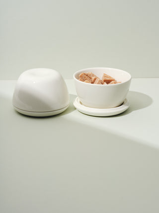 Two lidded ceramic bowls, one closed, one open revealed candied ginger