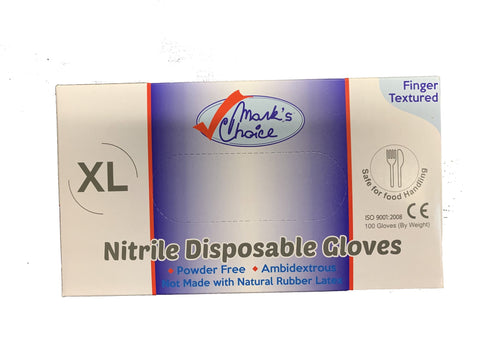 Mark's Choice Nitrile Disposable Gloves (100 Gloves) XL