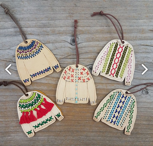 Stitchable sweater ornament