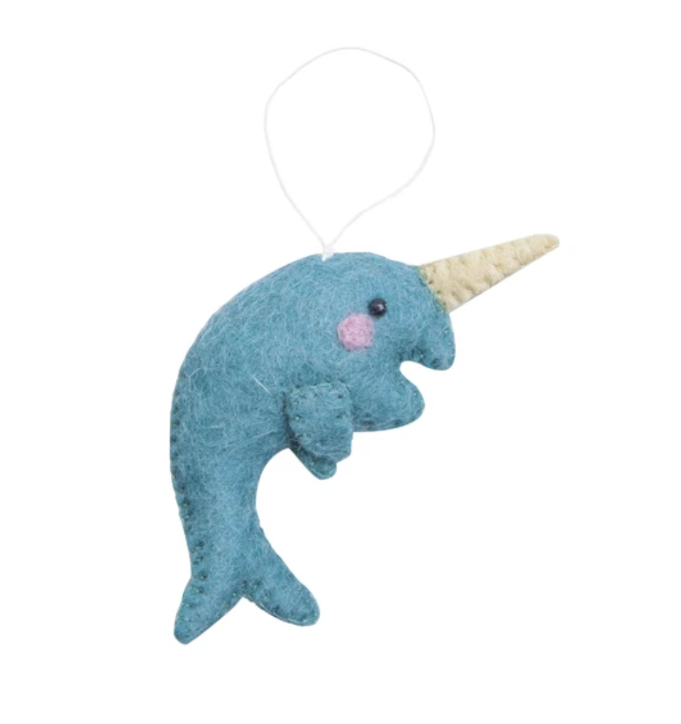 Felted Narwhal Ornament