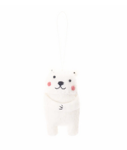 Felted Polar Bear Ornament