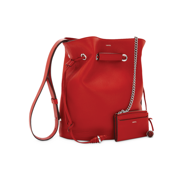 LE HUIT BUCKET BAG LARGE RED LANCEL