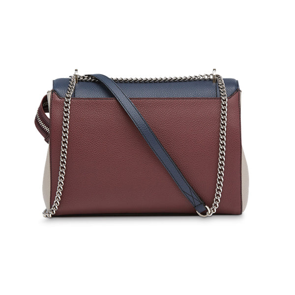 NINON FLAP BAG LARGE PETROL / BLACKCURRANT / CLAY