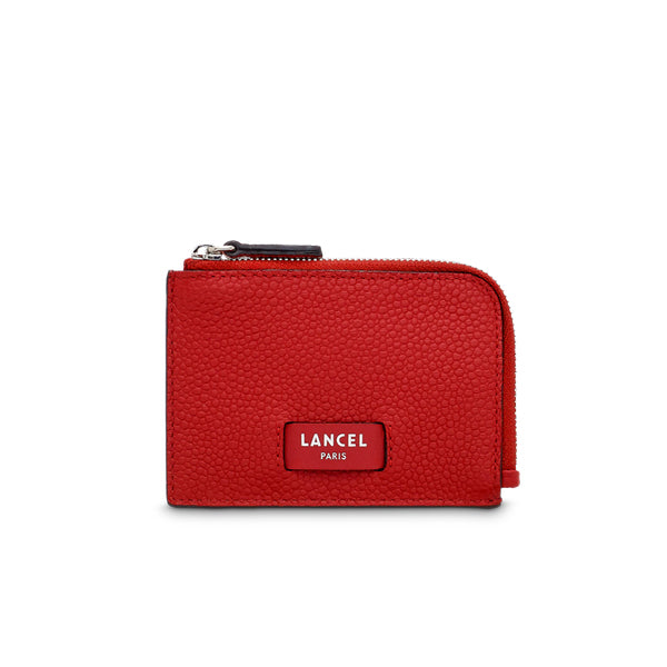 NINON ZIPPED CARD HOLDER RED LANCEL