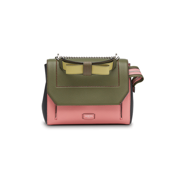 NINON FLAP BAG MEDIUM GREEN / PINK / BLACK