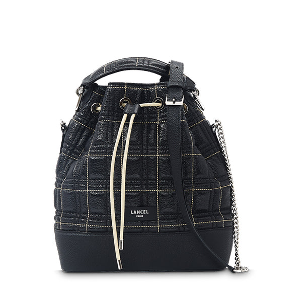 NINON BUCKET BAG MEDIUM BLACK CHECKS