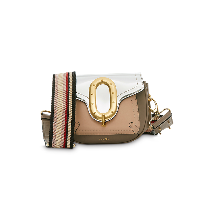 ROMANE SADDLE BAG SMALL SILVER / LINEN / NUDE