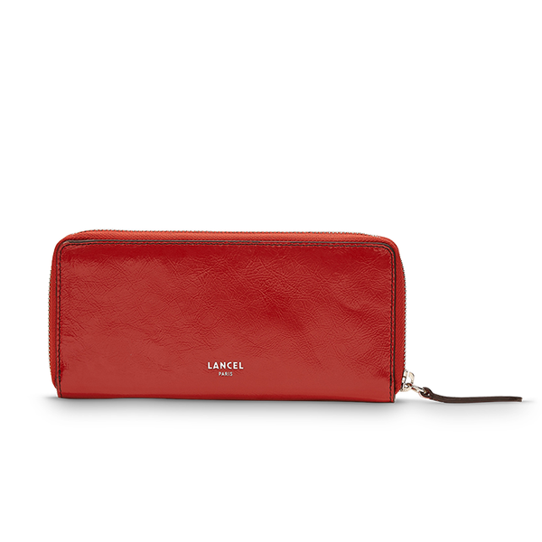 CLIC SLIM ZIP WALLET RED LANCEL