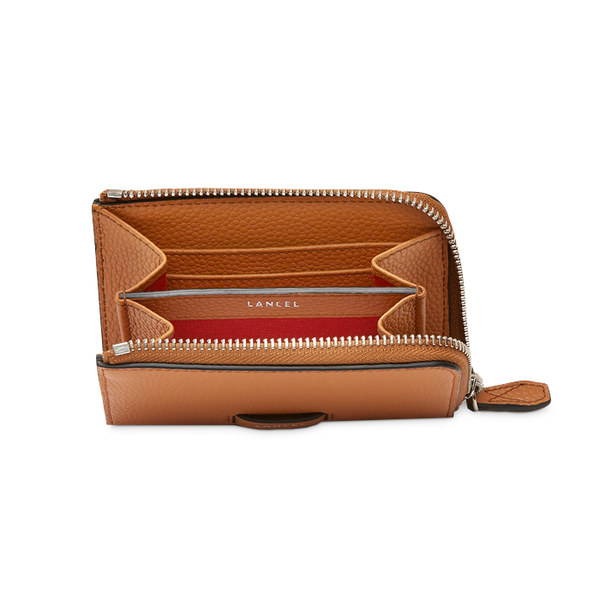 NINON SLIM ZIP WALLET SMALL CAMEL