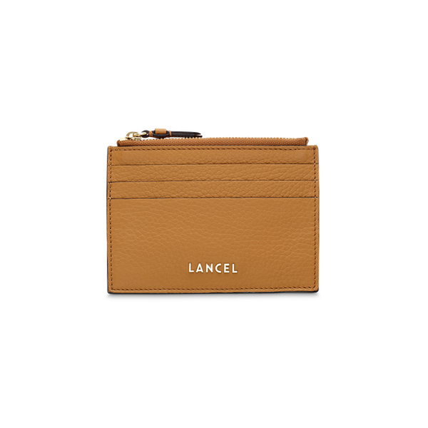 LETTRINES ZIPPED CARD HOLDER CAMEL