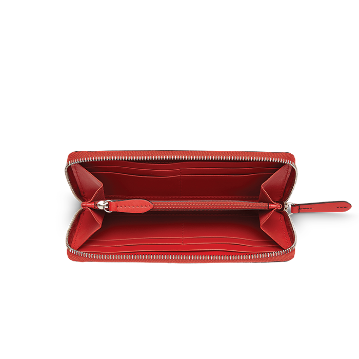 CLIC SLIM ZIP WALLET BLACKCURRANT / RED LANCEL
