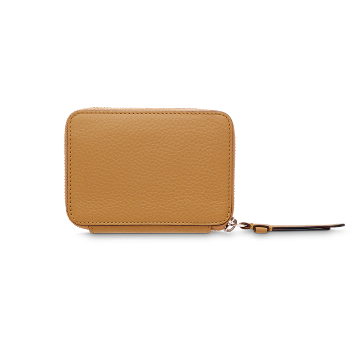 LETTRINES ZIPPED CONTINENTAL WALLET SMALL CAMEL