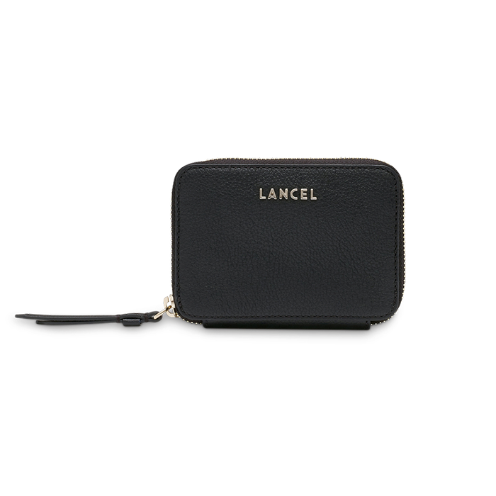 LETTRINES ZIPPED CONTINENTAL WALLET SMALL BLACK