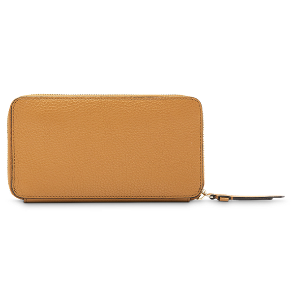 LETTRINES CONTINENTAL ZIP WALLET CAMEL